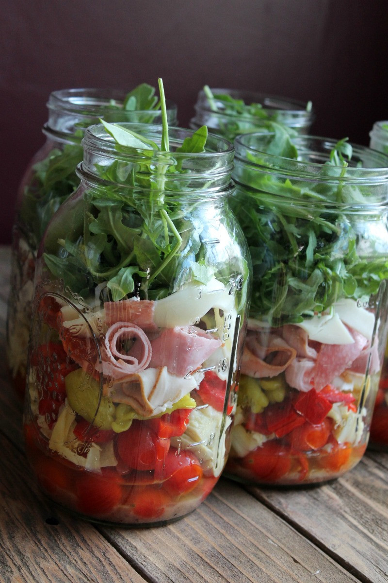 Mason Jar Salad Recipes Low Calorie  Antipasto Mason Jar Salad