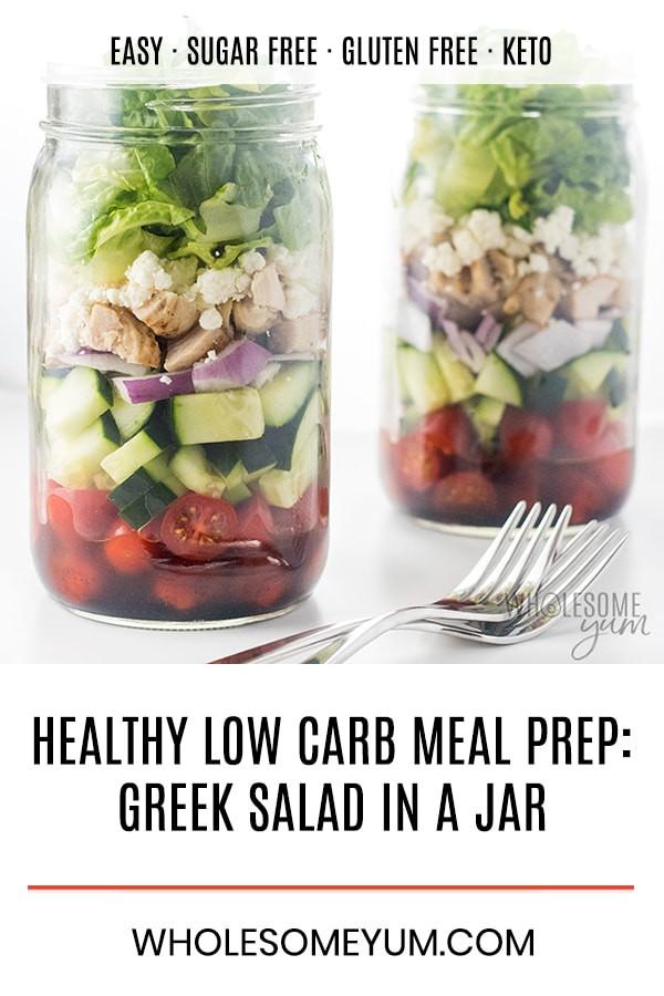 Mason Jar Salad Recipes Low Calorie  Healthy Low Carb Meal Prep Greek Mason Jar Salad Recipe