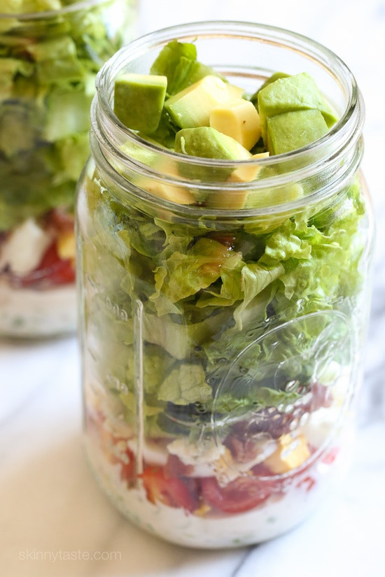Mason Jar Salad Recipes Low Calorie  Cobb Salad in a Jar with Buttermilk Ranch
