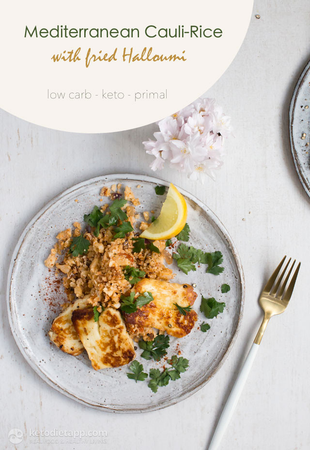 Mediterranean Keto Diet  Mediterranean Cauli Rice with Fried Halloumi