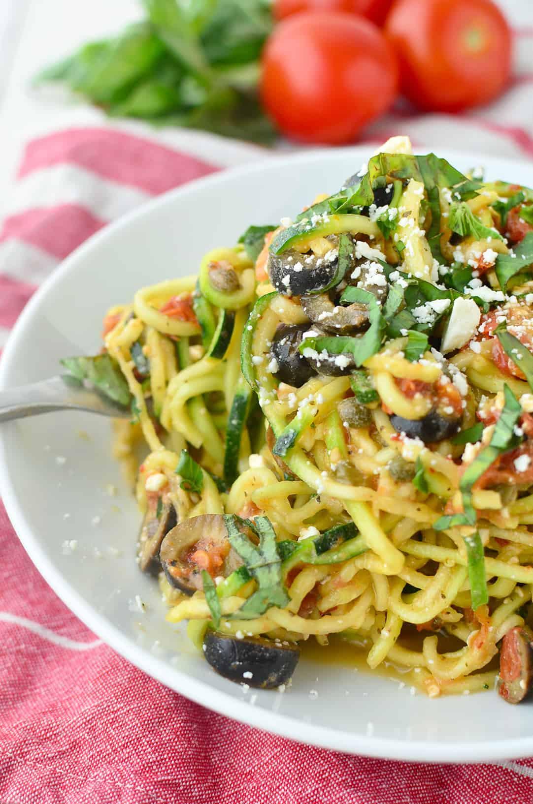 Mediterranean Vegetarian Diet  Mediterranean Zucchini Noodles Delish Knowledge