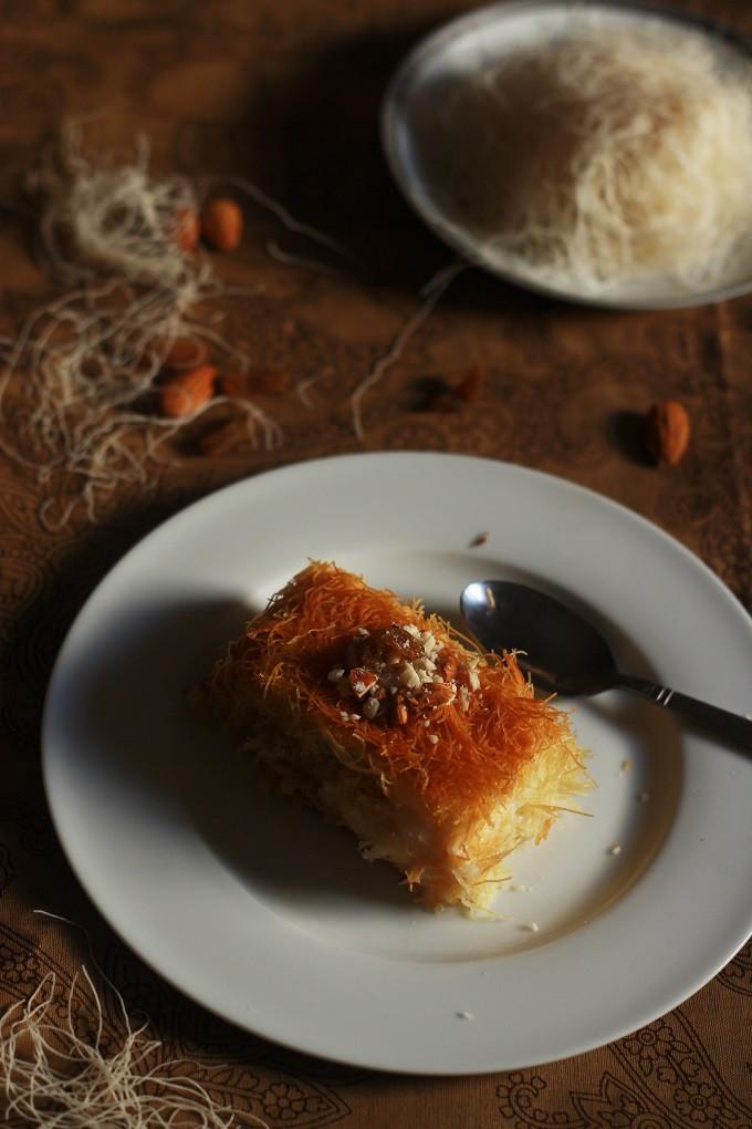 Middle Eastern Desert Recipes  Kunafa Recipe Knafeh Recipe with Kataifi Fas Kitchen