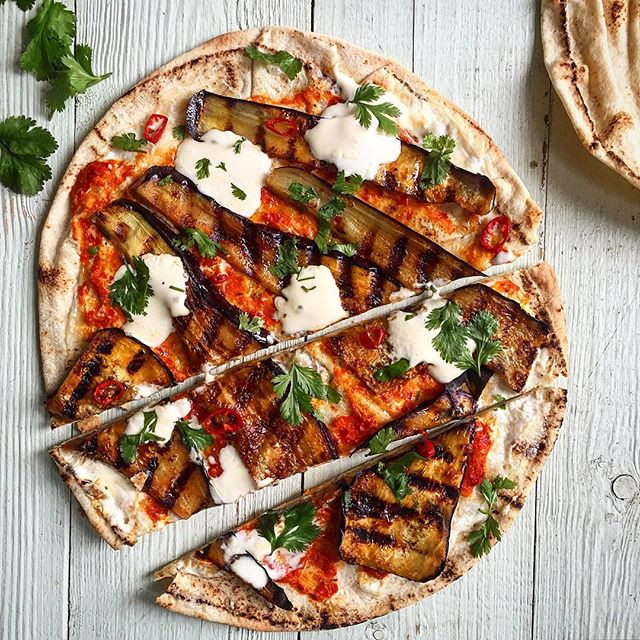 Middle Eastern Flatbread Recipes  Harissa Grilled Eggplant Flatbread With Labneh And Roasted