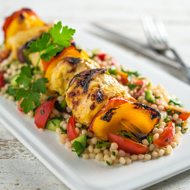 Middle Eastern Kabob Recipes  Middle Eastern Chicken Kabobs with Israeli Couscous