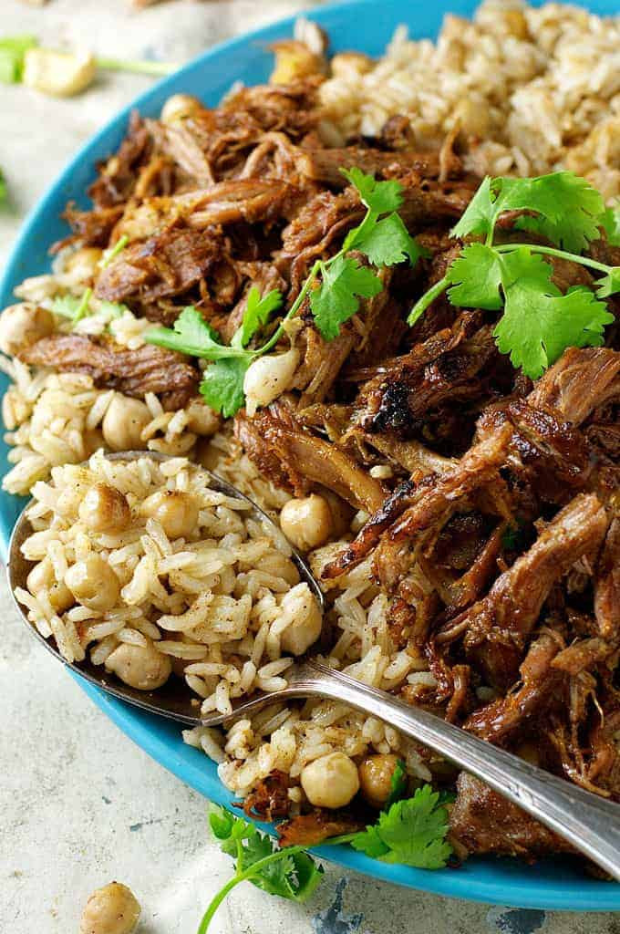 Middle Eastern Lamb Recipes  Middle Eastern Shredded Lamb with Chickpea Pilaf Rice