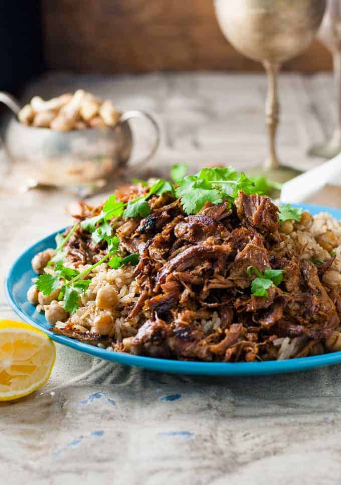 Middle Eastern Rice Pilaf Recipes  Middle Eastern Shredded Lamb with Chickpea Pilaf Rice