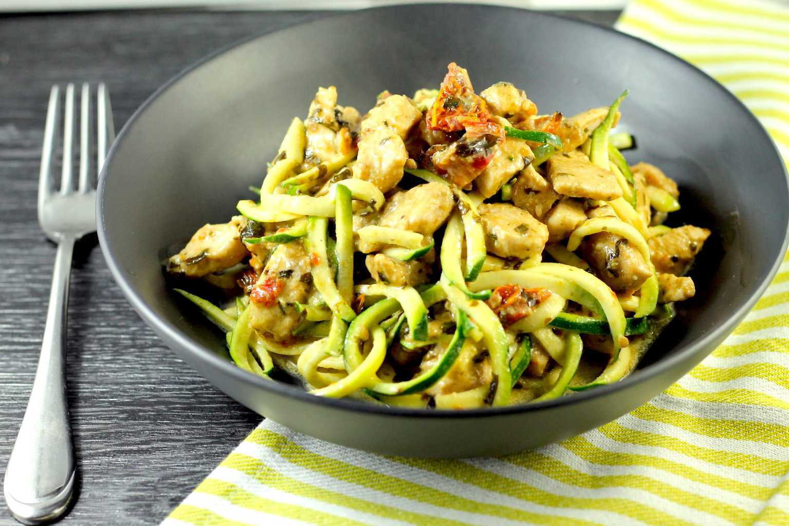 Noodles For Keto Diet  Keto Pesto Chicken with Zucchini Noodles