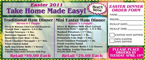Order Easter Dinner  Order Easter Dinner line