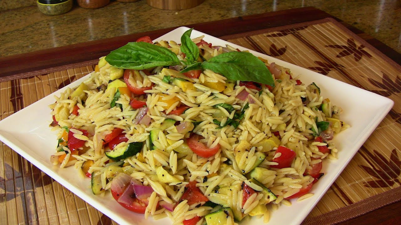 Orzo Recipes Vegetarian  Grilled Ve able Orzo Pasta Salad Ve arian Recipe