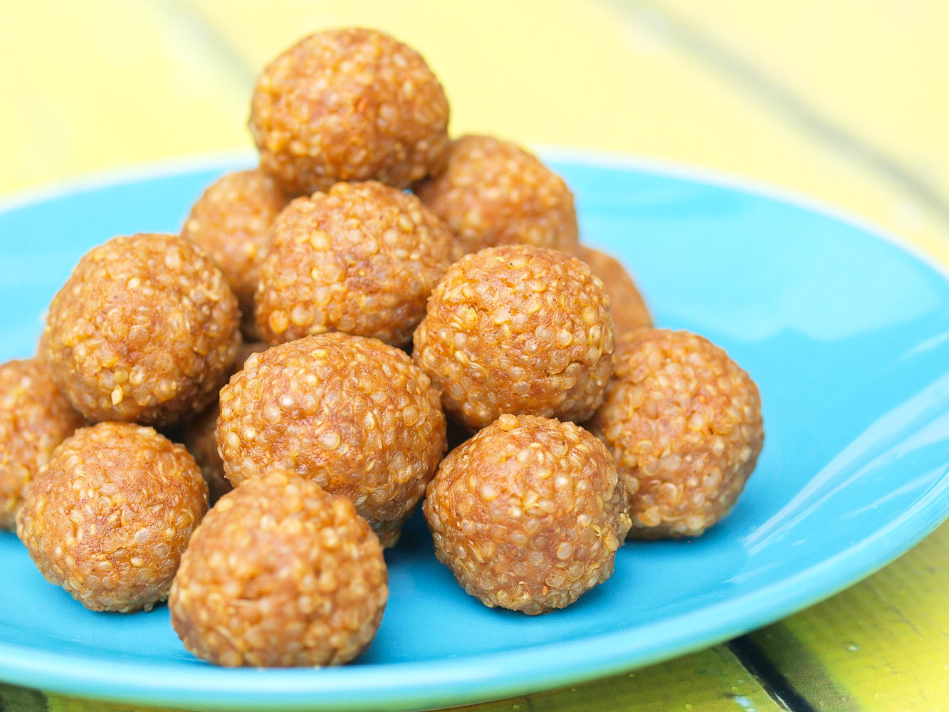 Peanut Butter Healthy Snacks  Look Again Quinoa Peanut Butter Snack Balls Happy