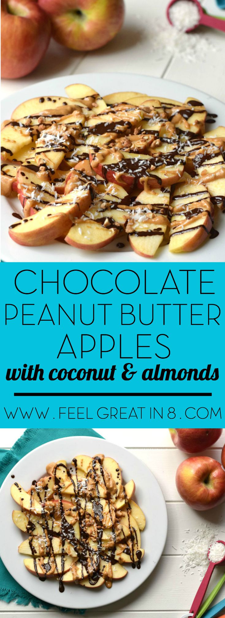 Peanut Butter Healthy Snacks  Dark Chocolate Peanut Butter Apples Feel Great in 8 Blog