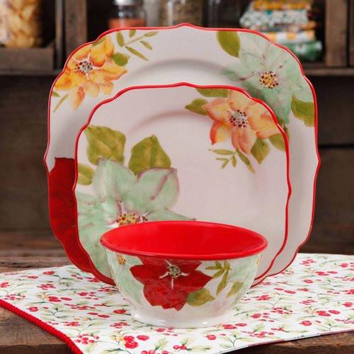 Pioneer Woman Easter Dinner  The Pioneer Woman Poinsettia 12 Piece Dinnerware Set
