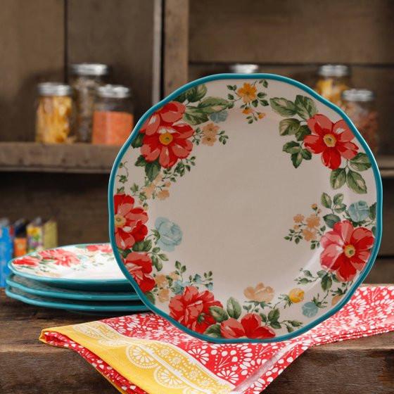 """Pioneer Woman Easter Dinner  The Pioneer Woman Vintage Floral 10 5"""" Dinner Plate Set"""