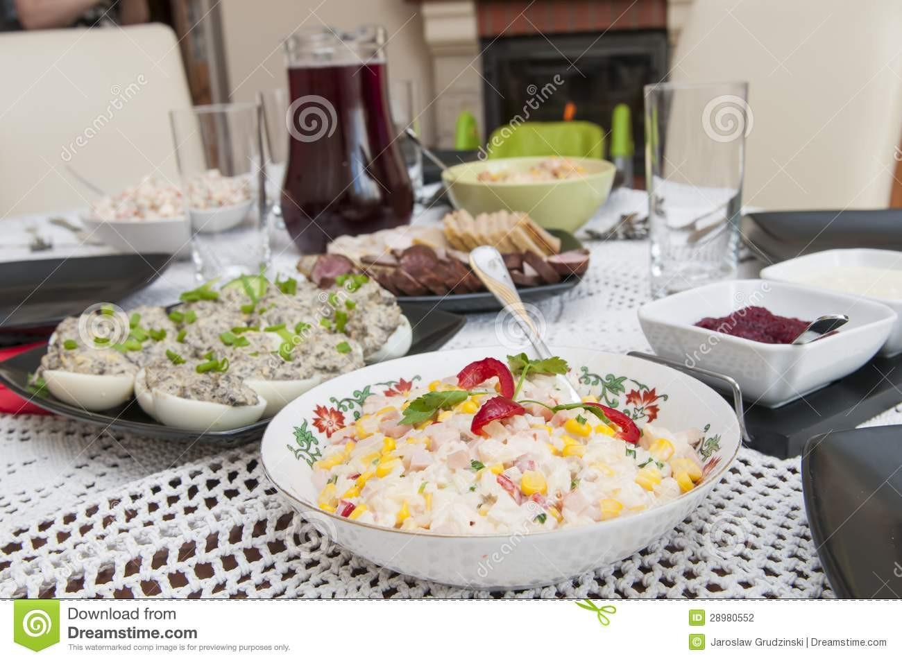 Polish Easter Dinner  Traditional Polish Easter Food Stock Image