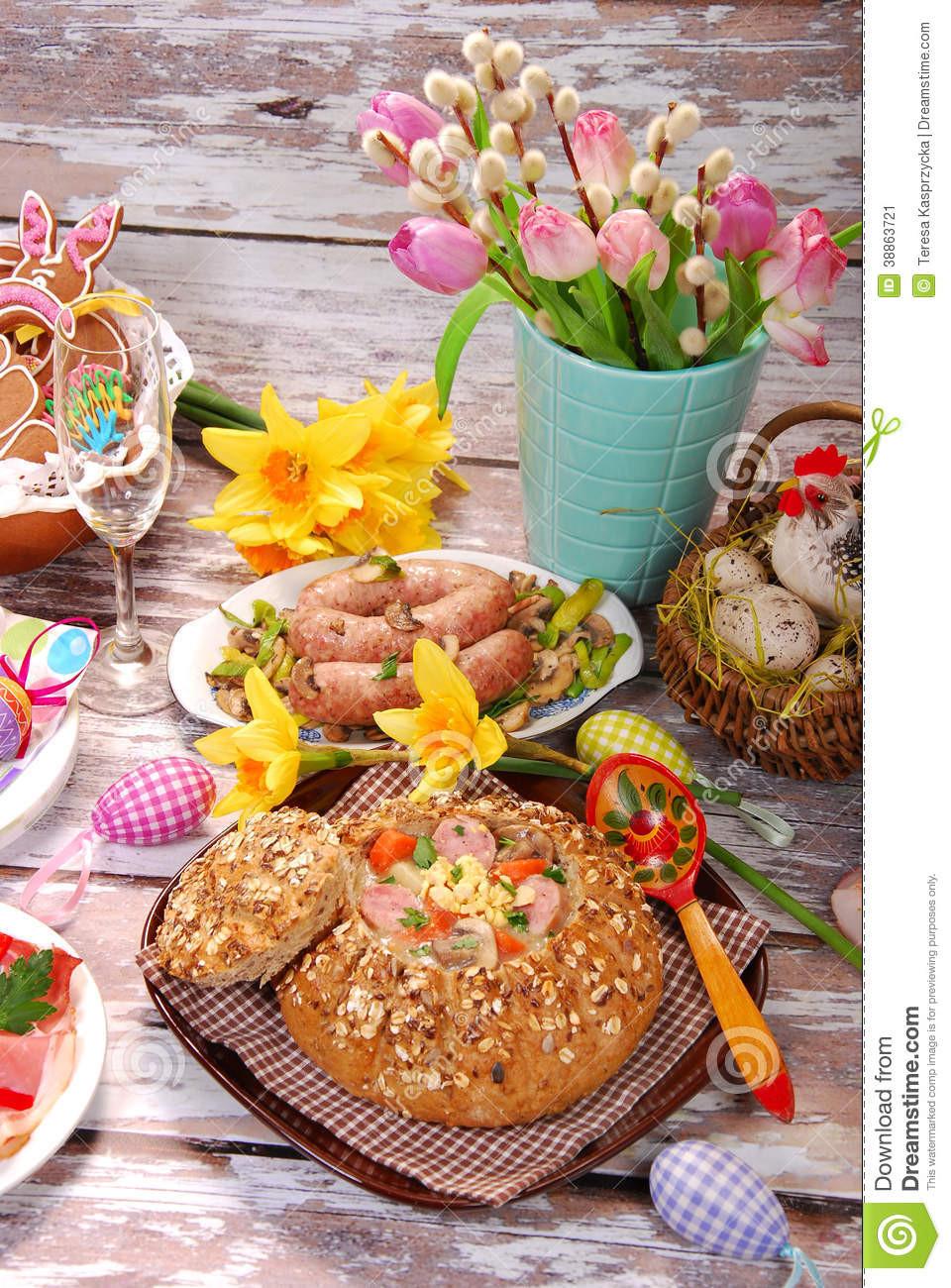 Polish Easter Dinner  White Borscht In Bread For Easter Stock Image Image