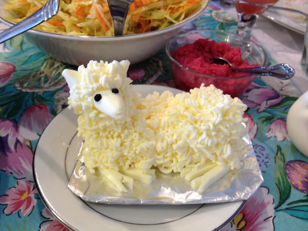Polish Easter Dinner  butter lamb