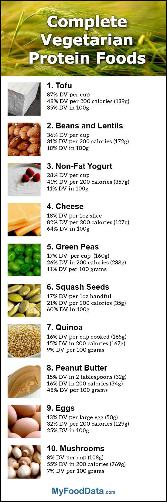 Protein Food For Vegetarian  Top 10 plete Ve arian Protein Foods with All the