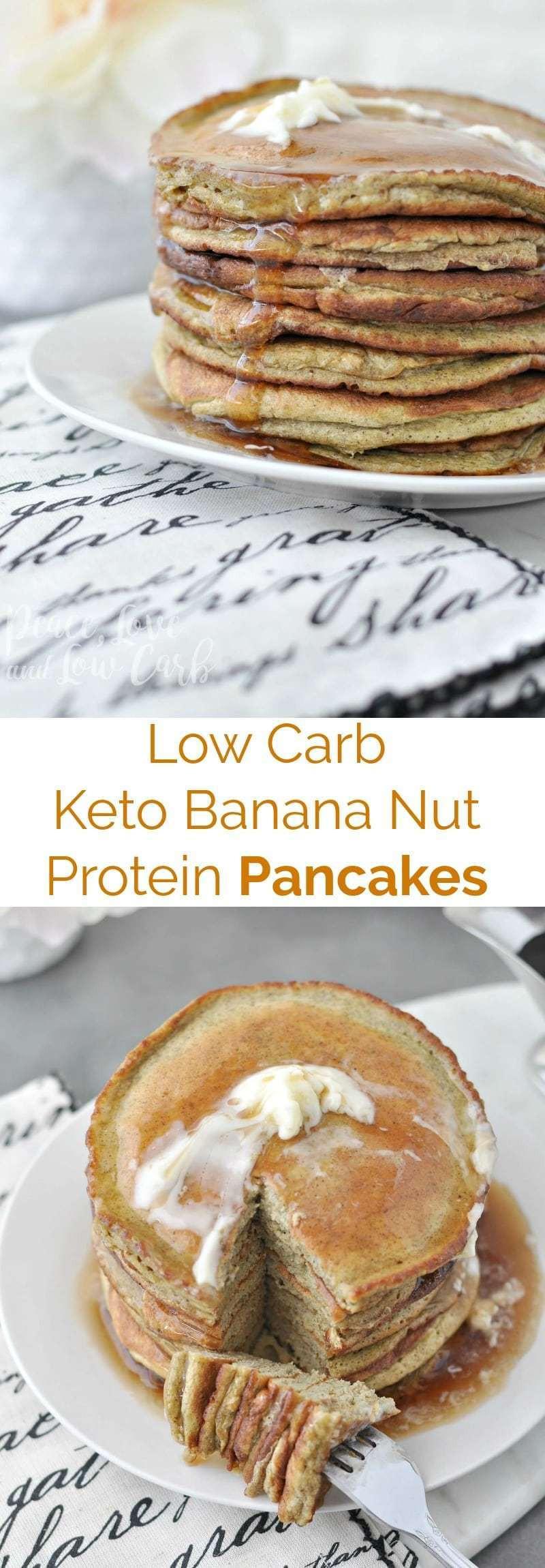 Protein Pancakes Low Carb  Low Carb Keto Banana Nut Protein Pancakes