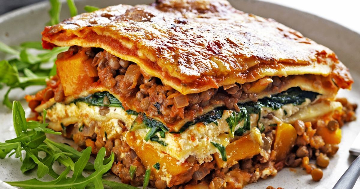 Pumpkin Lasagna Vegetarian  Pumpkin spinach and lentil lasagne
