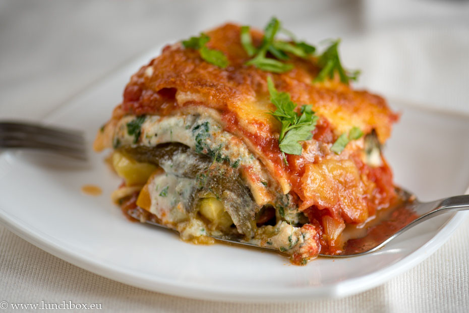 Pumpkin Lasagna Vegetarian  Veggie Lasagna with pumpkin spinach and ricotta