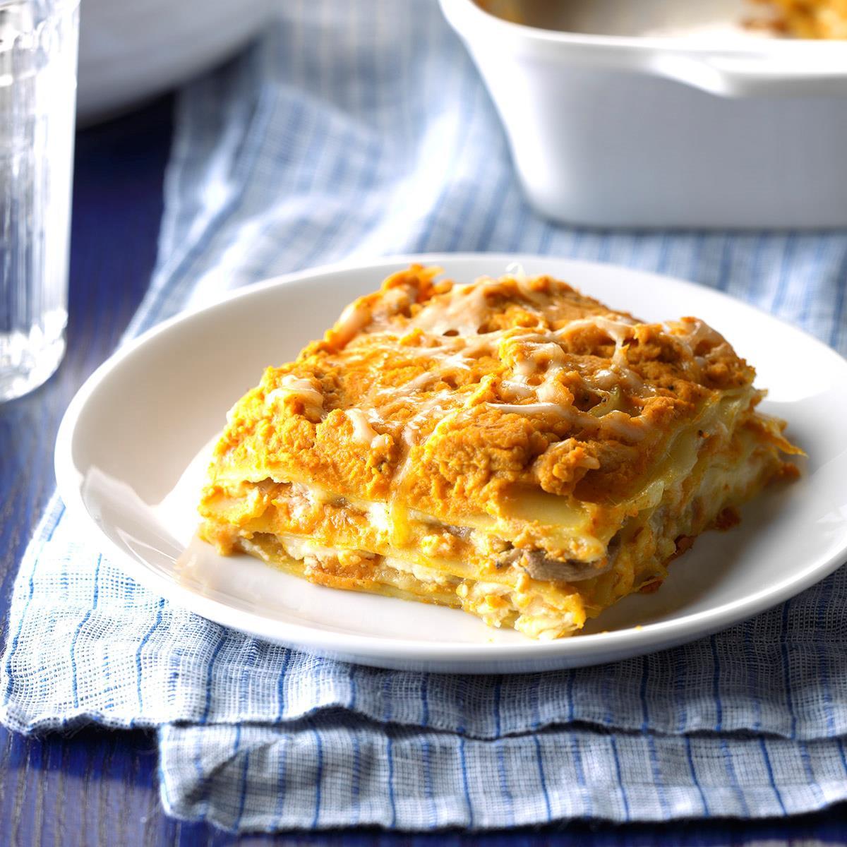 Pumpkin Lasagna Vegetarian  Pumpkin Lasagna Recipe