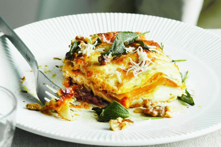 Pumpkin Lasagna Vegetarian  Pumpkin sage and ricotta lasagne