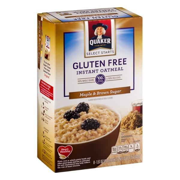 Quaker Oats Gluten Free Oatmeal  Quaker Select Starts Gluten Free Maple & Brown Sugar