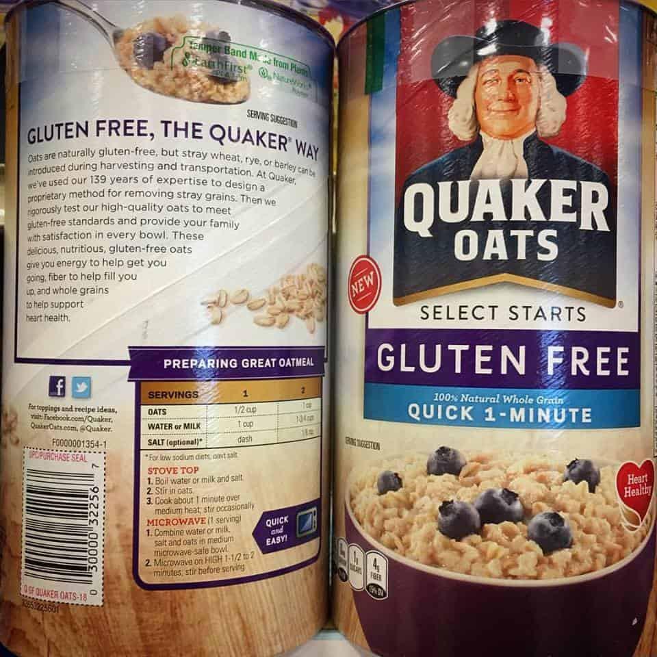 Quaker Oats Gluten Free Oatmeal  Shopping for Safe Gluten Free Products Gluten free