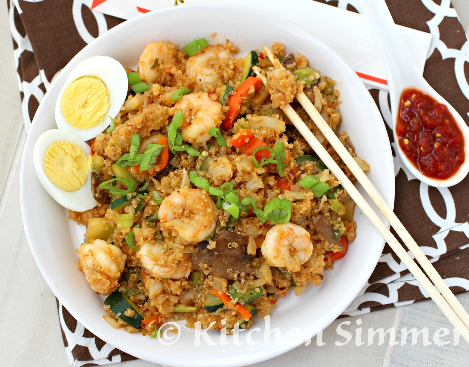 "Quinoa Slow Carb  Kitchen Simmer Quinoa and Cauliflower Low Carb ""Fried"
