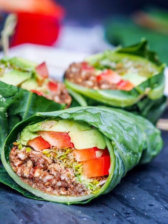 Raw Vegan Lunch Recipes  Raw Vegan Recipes Collard Wraps Gluten Free Paleo