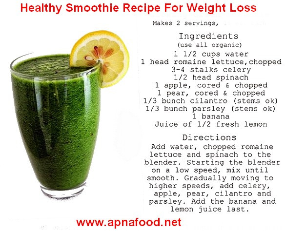 Recipe For Healthy Smoothies For Weight Loss  Smoothie Recipe For Weight Loss