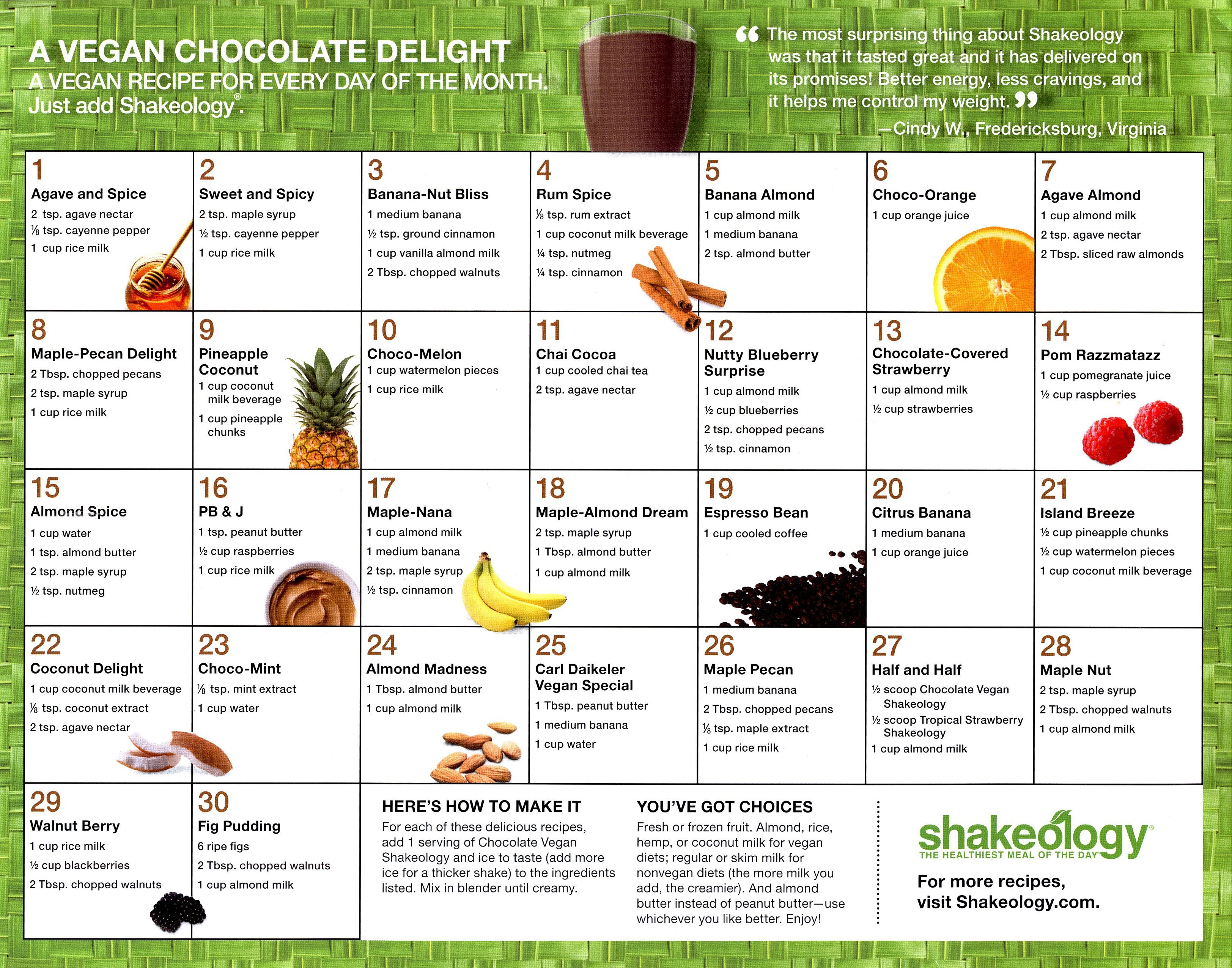 Shakeology Vegan Chocolate Recipes  Vegan Chocolate Shakeology