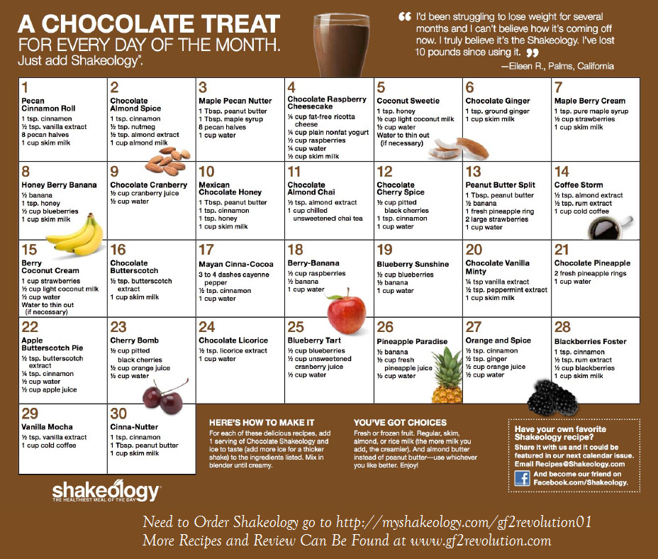 Shakeology Vegan Chocolate Recipes  Chocolate Shakeology Recipe Calendars