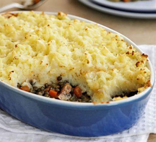 Shepards Pie Vegetarian  Golden veggie shepherd's pie recipe