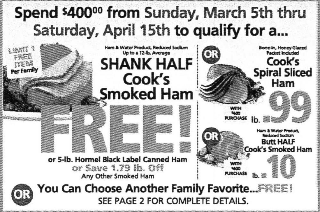 Shoprite Free Ham Easter  ShopRite Holiday Dinner Promo Earn a FREE Turkey Ham