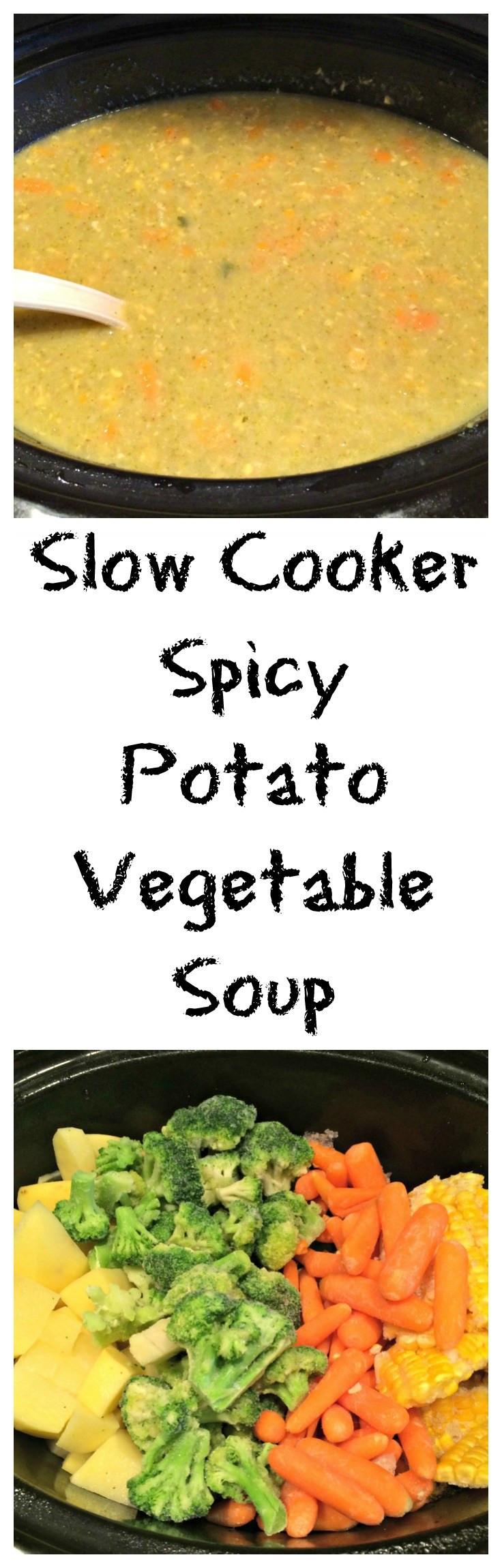 Slow Cooker Vegetarian Potato Soup  Slow Cooker Spicy Potato Ve able Soup Sweet Mornings