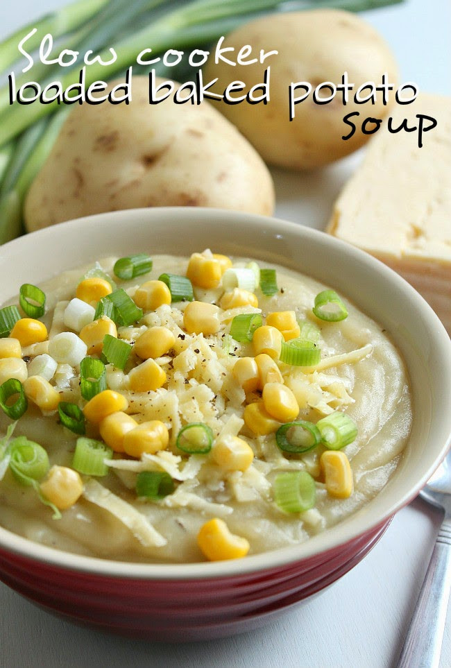 Slow Cooker Vegetarian Potato Soup  Slow Cooker from Scratch Slow Cooker Ve arian Loaded