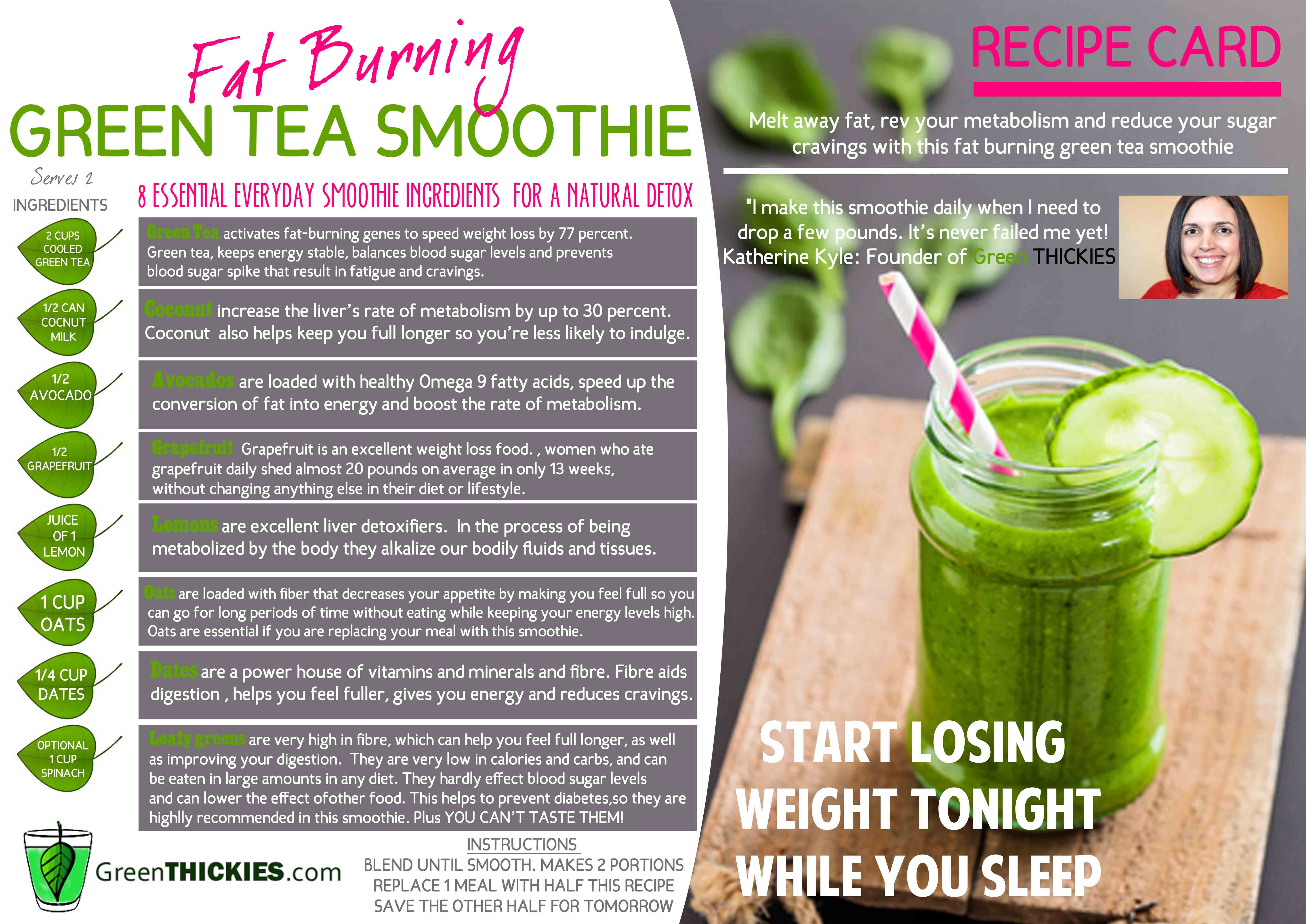 Smoothie Diet Recipes For Weight Loss Plan  Recipe Card Download Green Thickies Filling Green