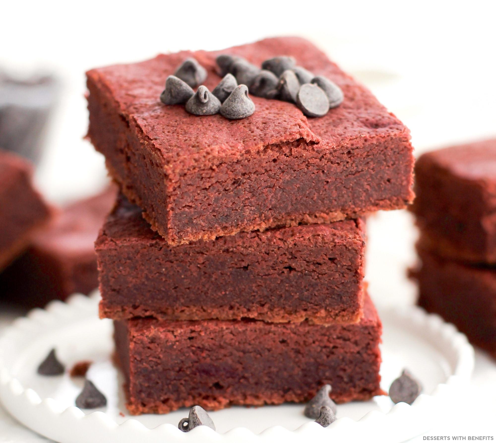 Sugar Free Gluten Free Dessert  Desserts With Benefits Healthy Red Velvet Brownies
