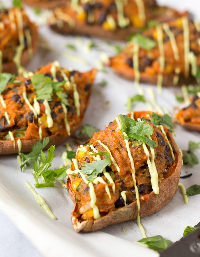 Sweet Potatoes Vegan Recipes  Mexican Stuffed Sweet Potato Skins – Vegan Gluten free