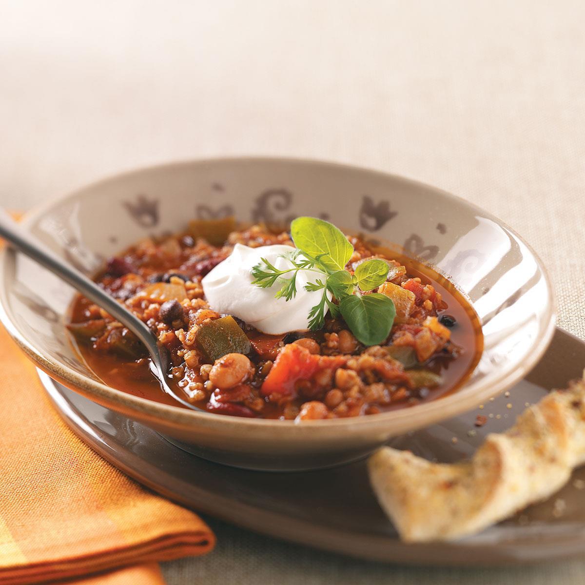 Taste Of Home Vegetarian Chili  Bean & Bulgur Chili Recipe