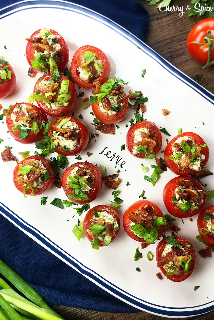 Tomatoes On Keto Diet  Stuffed Cherry Tomatoes with Bacon Asiago Cream Cheese