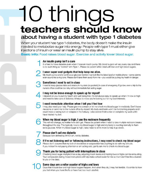 Type 1 Diabetic Recipes  Type 1 Diabetics 10 Things Teachers Should Know