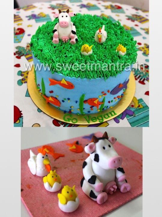 Vegan Birthday Cake Delivery  Animal theme Vegan cake Cake by Sweet Mantra CakesDecor