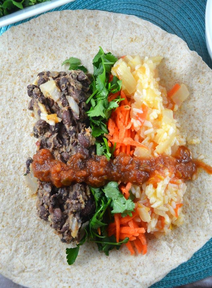 Vegan Black Bean Burritos  Chili and Lime Vegan Black Bean Burritos with Red Rice
