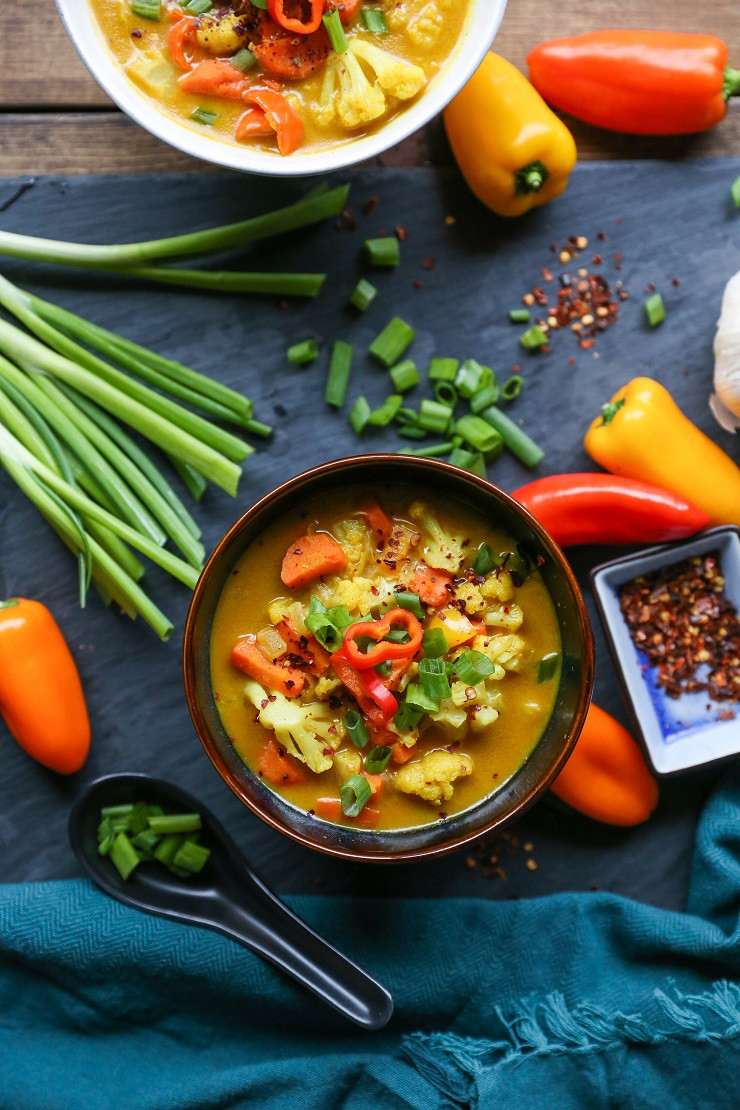 Vegan Broth Recipes  Coconut Curry Ve able Soup vegan paleo The Roasted Root