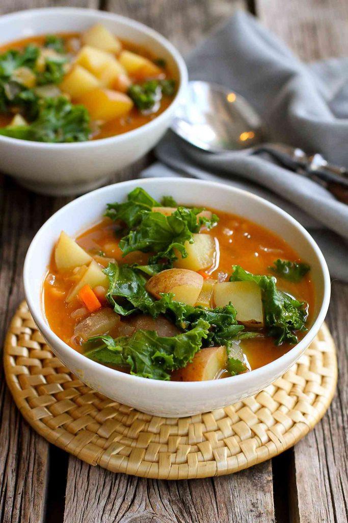 Vegan Broth Recipes  Vegan Potato Soup Recipe with Beans & Kale Cookin Canuck