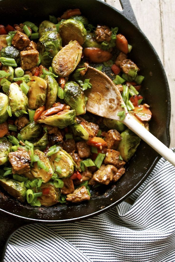 Vegan Brussel Sprouts Recipes  15 Minute Brussels Sprout & Tempeh Stir Fry It s a quick