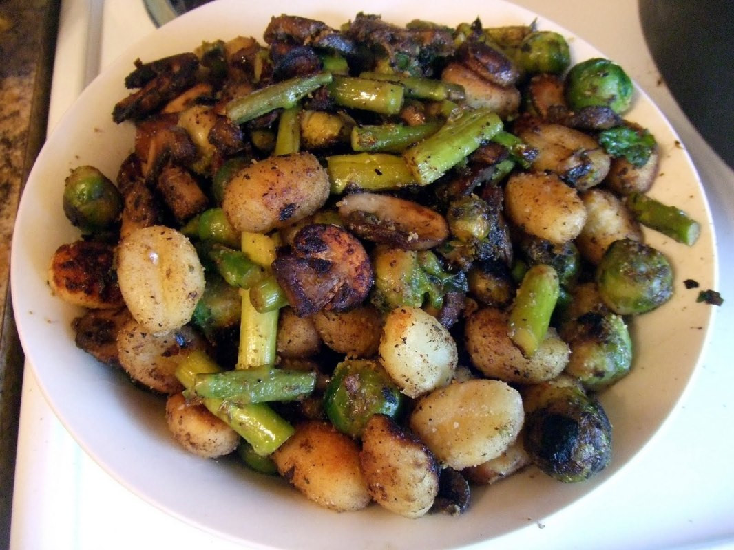 Vegan Brussel Sprouts Recipes  Crispy Gnocchi With Mushrooms Asparagus and Brussels
