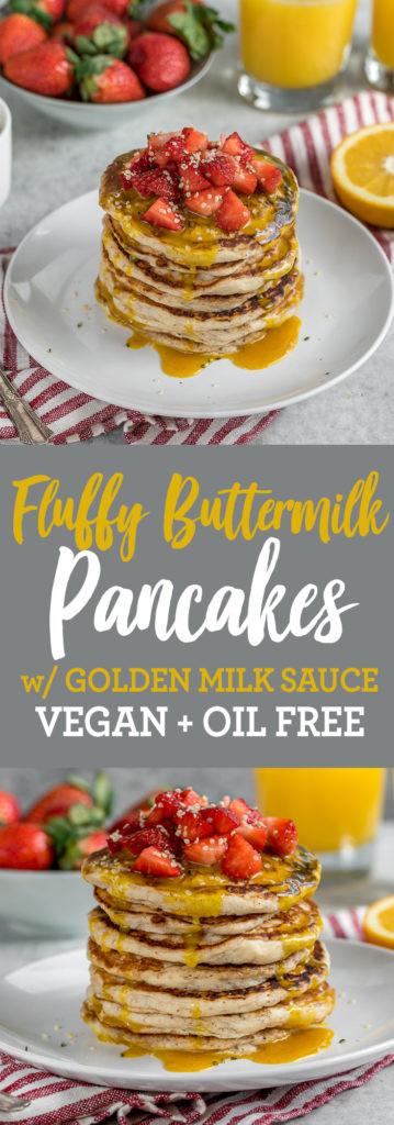 Vegan Buttermilk Pancakes  Fluffy Vegan Buttermilk Pancakes w Golden Milk Sauce